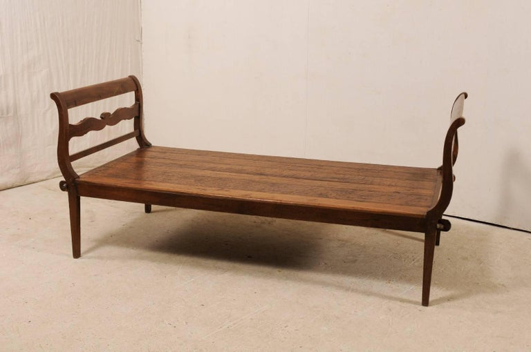 19th C. Brazilian Nicely Carved Peroba Hardwood Daybed (or Backless Bench)  For Sale 1