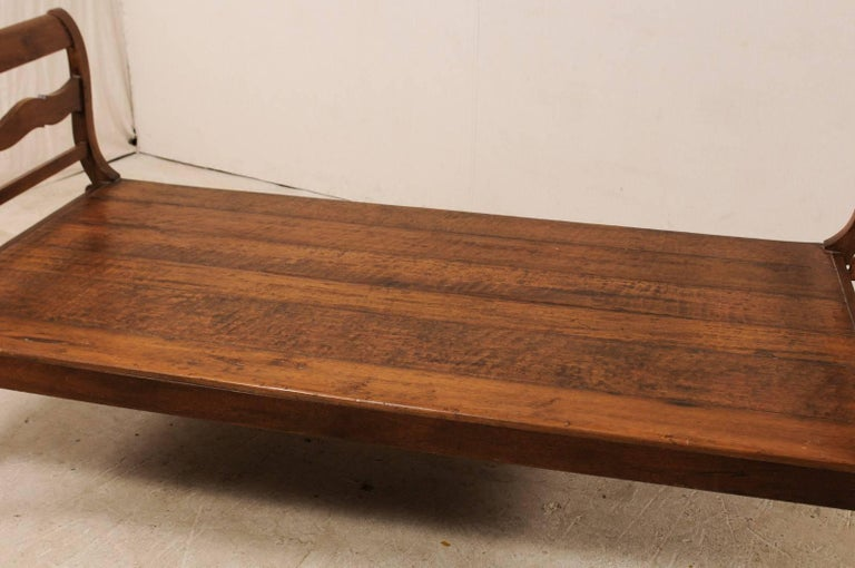 19th C. Brazilian Nicely Carved Peroba Hardwood Daybed (or Backless Bench)  For Sale 2
