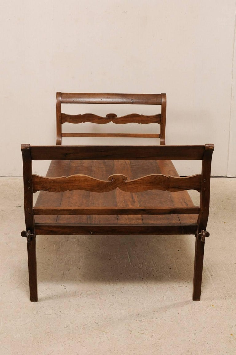 19th C. Brazilian Nicely Carved Peroba Hardwood Daybed (or Backless Bench)  For Sale 3