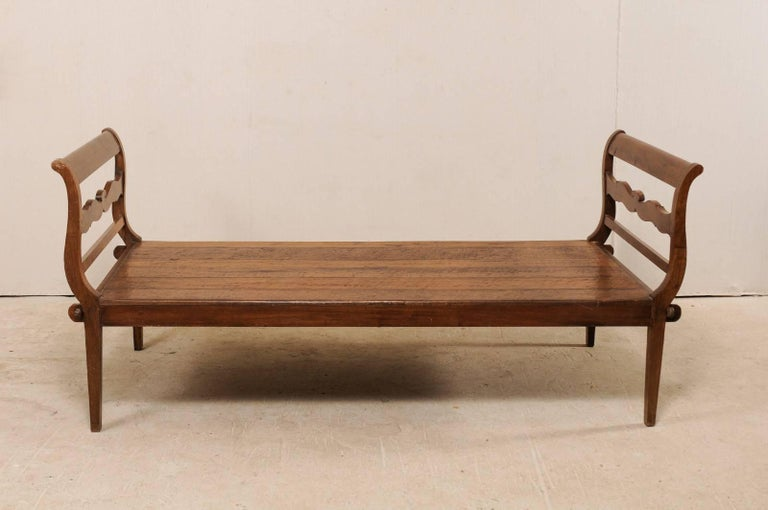 19th C. Brazilian Nicely Carved Peroba Hardwood Daybed (or Backless Bench)  For Sale 5