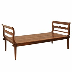 19th C. Brazilian Nicely Carved Peroba Hardwood Daybed (or Backless Bench)