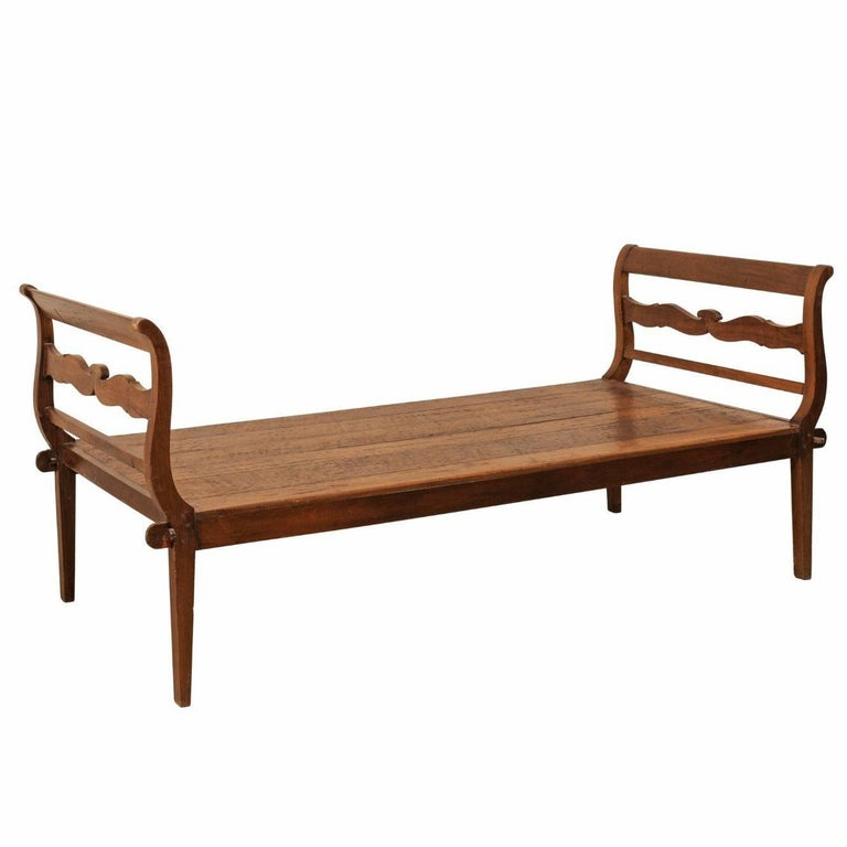19th C. Brazilian Nicely Carved Peroba Hardwood Daybed (or Backless Bench)  For Sale
