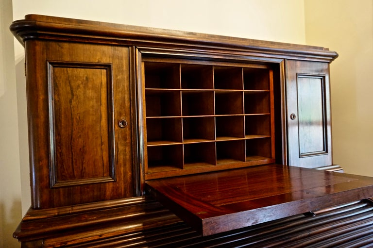 19th Century Brazilian Rosewood Large Roll Top Desk with Cabinet For Sale 6