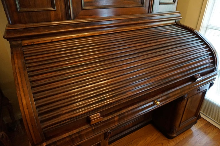 English 19th Century Rosewood Large Roll Top Desk with Cabinet For Sale