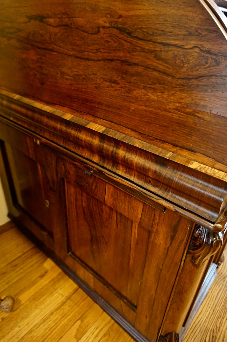 Late 19th Century 19th Century Rosewood Large Roll Top Desk with Cabinet For Sale