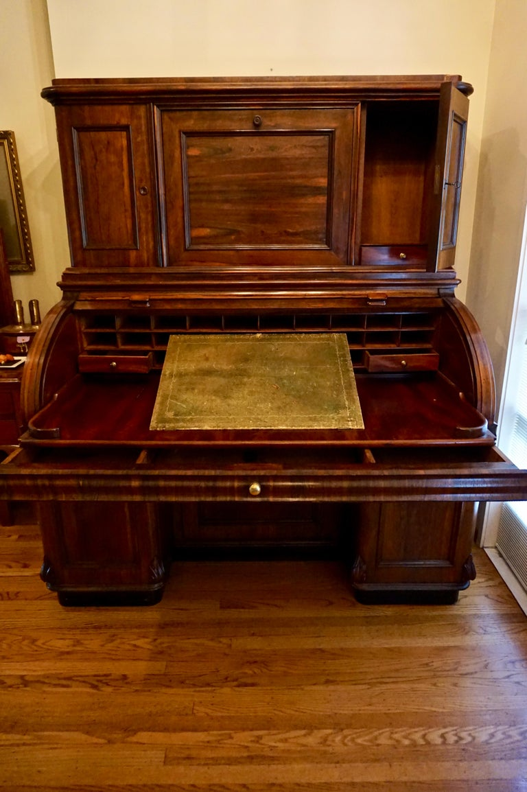 19th Century Brazilian Rosewood Large Roll Top Desk with Cabinet For Sale 2