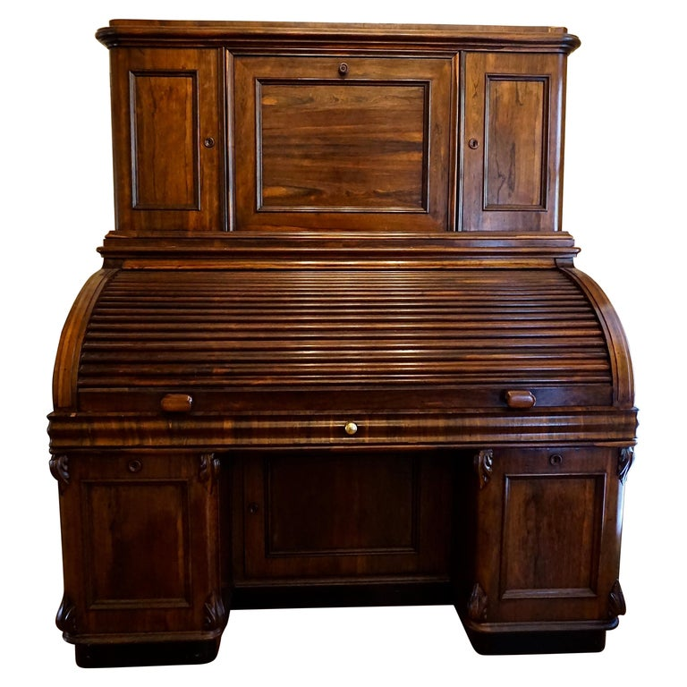 19th Century Rosewood Large Roll Top Desk with Cabinet For Sale