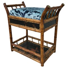 "19th Century ""Brighton"" Bamboo Bench with Bevilacqua ""Tiger"" Velvet"