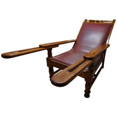 19th Century British Colonial Tea Plantation Teak & Leather Lounge Chair