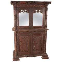 19th Century British Colonial Teak Wood Mirrored Cabinet or Hutch