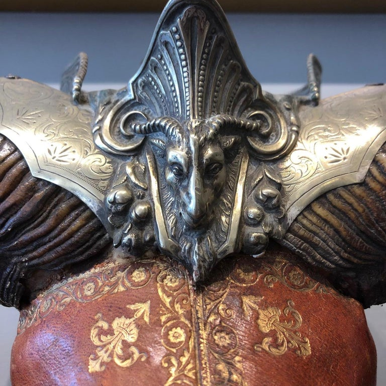 Hand-Carved 19th Century British Empire Silver and Tooled Leather Mounted Rams Horn For Sale