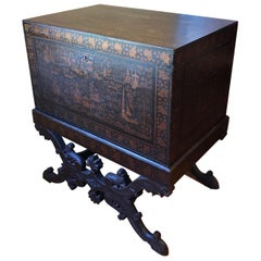 19th Century British Lacquered Chinoiserie Chest on Stand