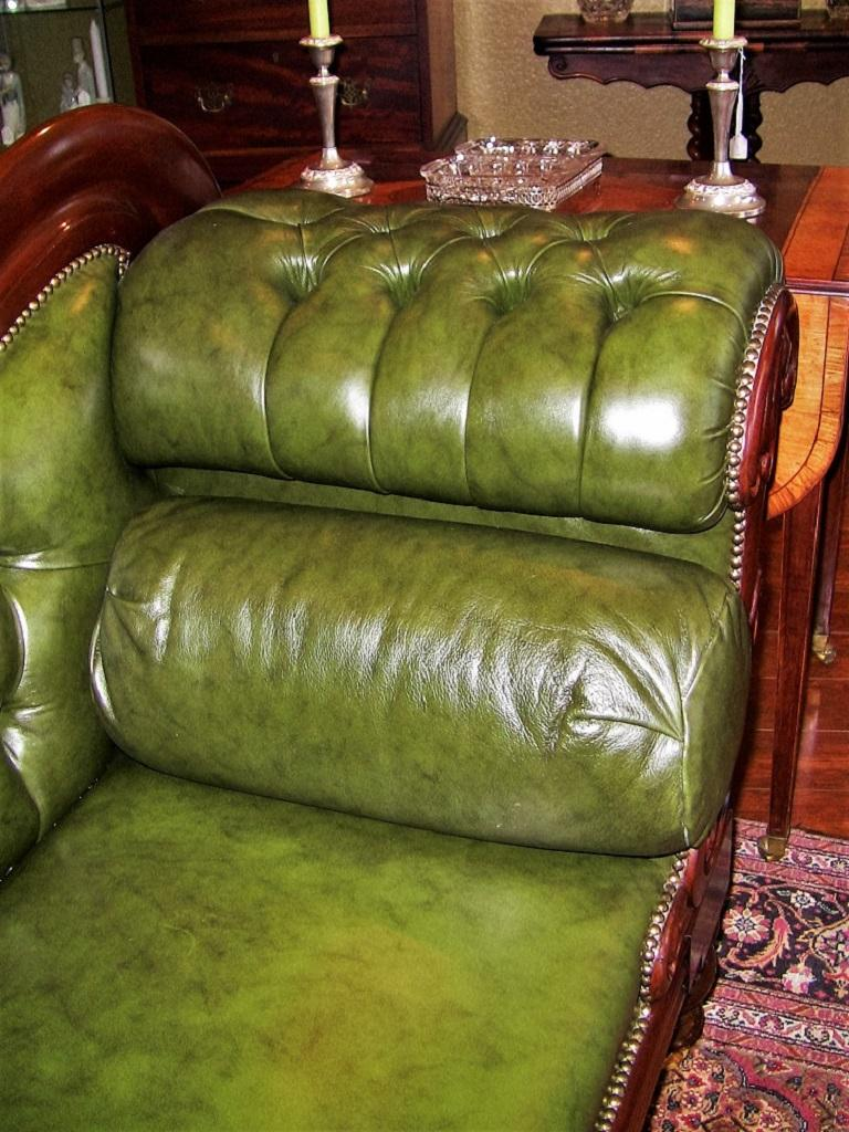 19th Century British Mahogany Library Sofa With Scroll Arms