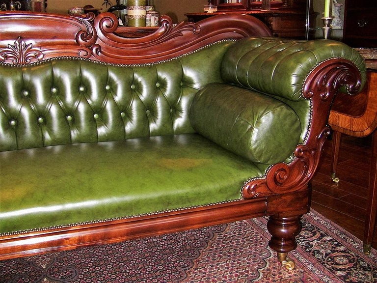 Absolutely Gorgeous Mid 19th Century Library Sofa Or Chaise With Scroll Arms British Piece