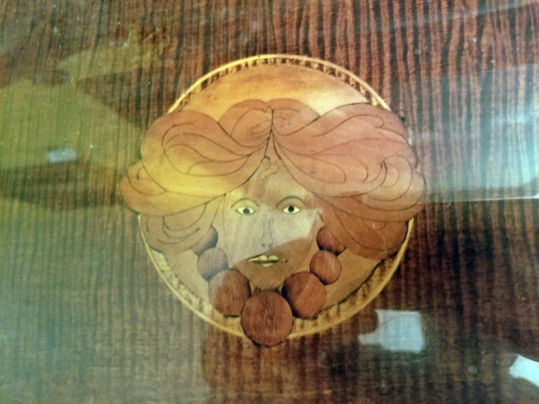 British……dark walnut and glass serving tray of small proportions…..beautifully inlaid with satinwood marquetry under the glass.  The central motif is that of a classic Art Nouveau Lady inlaid using satinwood and walnut marquetry and hand-painted