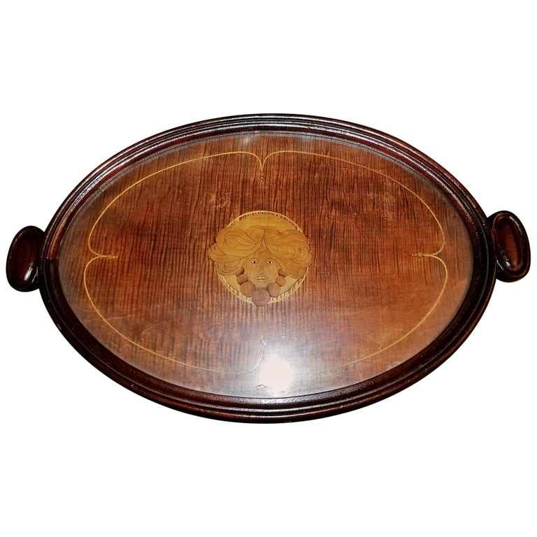 19th Century British Marquetry Inlaid Serving Tray For Sale