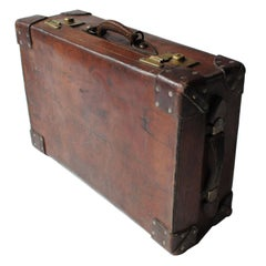 19th Century British Royal Guard Leather Bronze English Suitcase