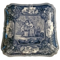 19th Century British Staffordshire Pottery Blue and White Square Plaque