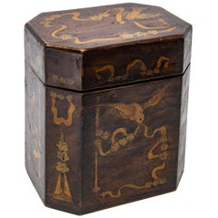 19th Century British Tea Caddy with Inlay