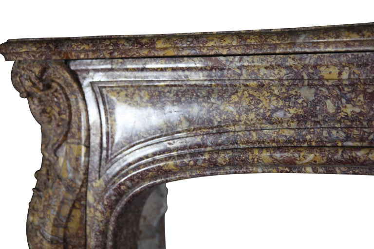 Carved 19th Century Brocatelle Marble French Interior Antique Fireplace Surround For Sale