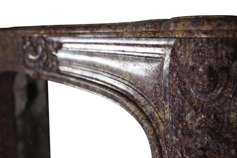 19th Century Brocatelle Marble French Interior Antique Fireplace Surround For Sale 4