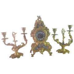 19th Century Bronze and Champleve Enamel Clock Set