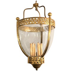 19th Century Bronze and Glass Bell Jar Large Chandelier