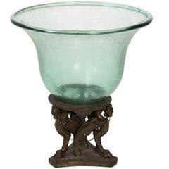 19th Century Bronze and Glass Centrepiece