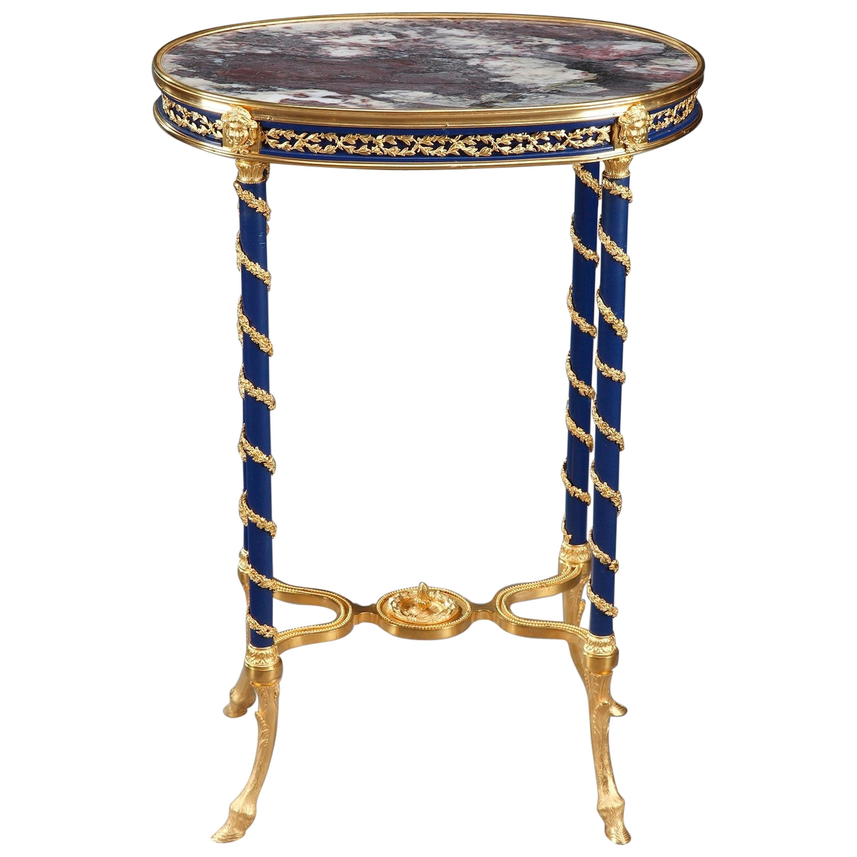 19th Century Bronze and Marble Gueridon Table