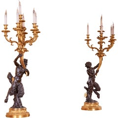 19th Century Bronze and Ormolu Fauna Candelabra