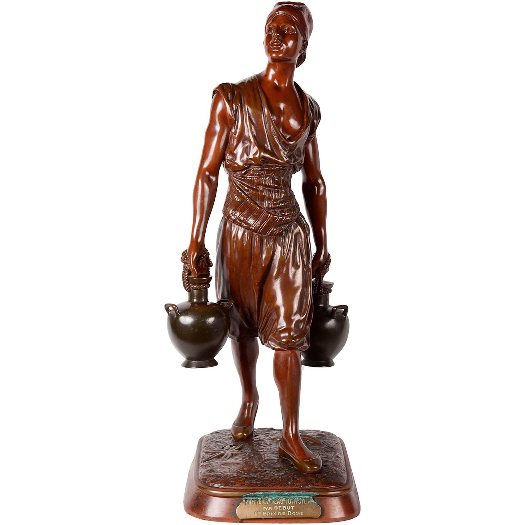 19th Century Bronze Arab Water Carrier by Debut