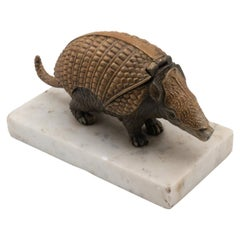 19th Century Bronze Armadillo Inkwell on a Marble Base
