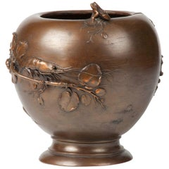 19th Century Bronze Art Nouveau Flowerpot by A. Oudry