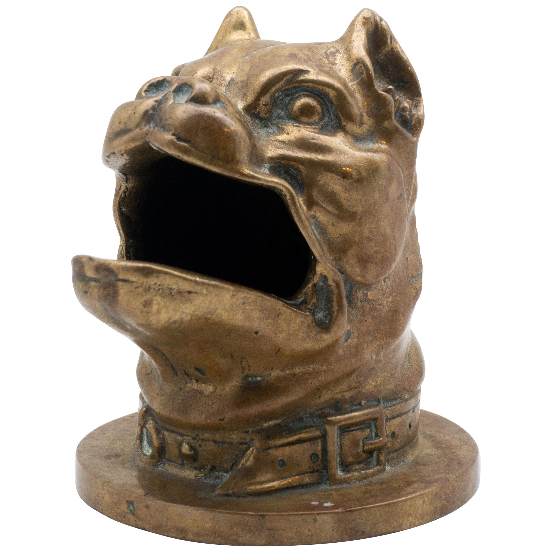 19th Century Bronze Barking Bulldog with Collar Head