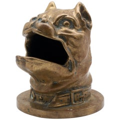 19th Century Bronze Barking Bulldog with Collar Head