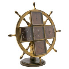 19th Century Bronze Boat Captain Ship's Wheel Shaped Table Clock