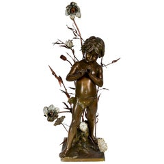 19th Century Bronze Boy Among Flowers, Lamp by L. Gregoire