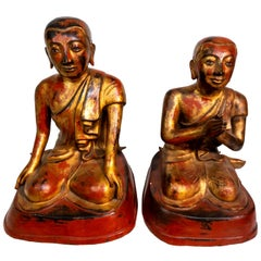 19th Century Bronze Burmese Monks