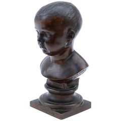 19th Century Bronze Bust of a Child Signed by Nicolas-Victor Vilain, 1842