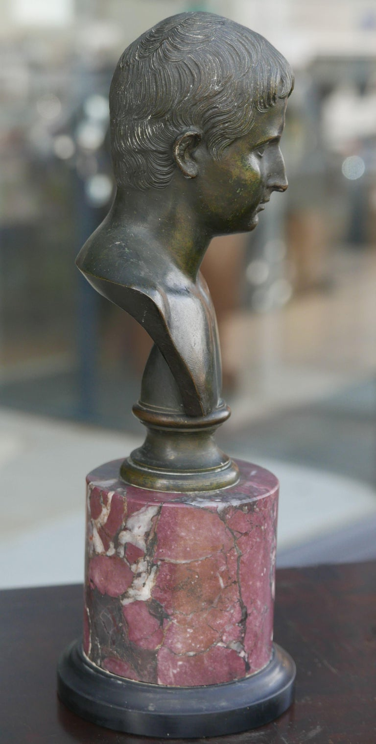 Italian 19th Century Bronze Bust of Caesar on Marble Pedestal For Sale