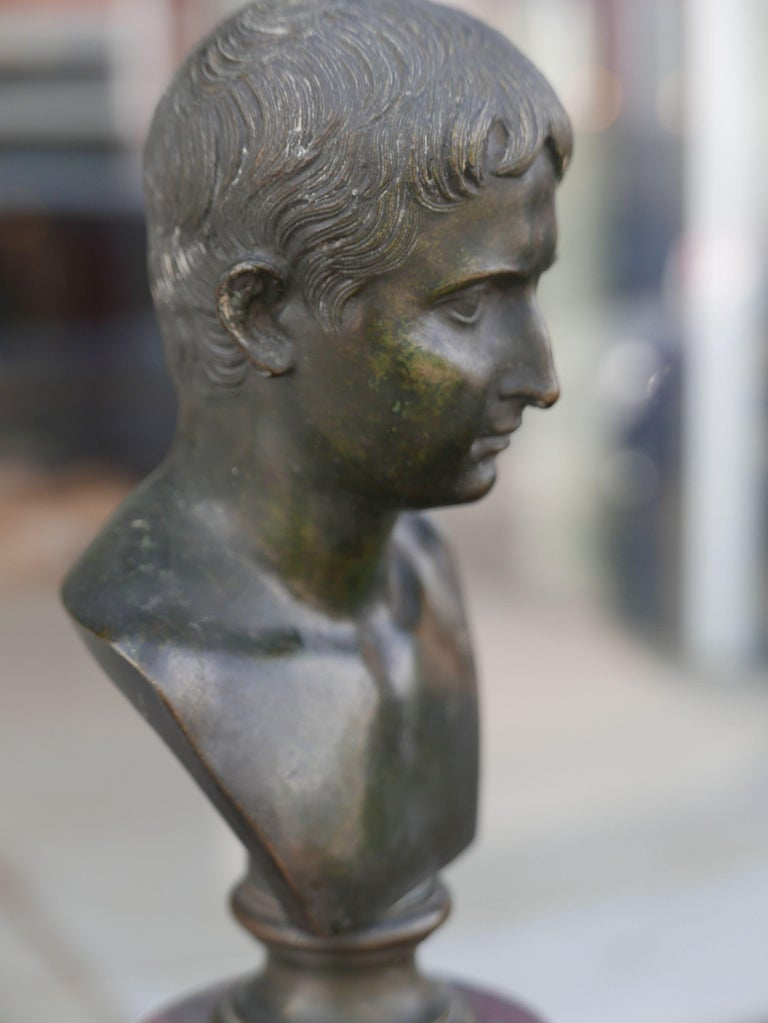 Patinated 19th Century Bronze Bust of Caesar on Marble Pedestal For Sale