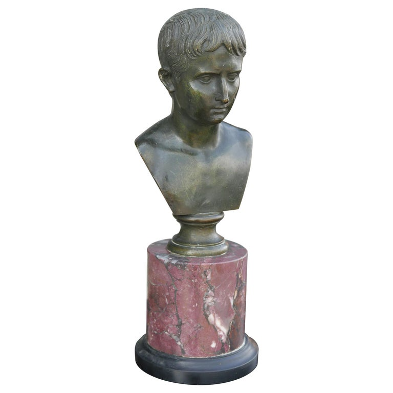 19th Century Bronze Bust of Caesar on Marble Pedestal For Sale