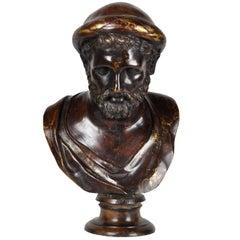 19th Century Bronze Bust Representing Pythagoras by Fonderia Chiurazzi