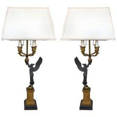 19th Century Bronze Candelabras Lamps, Pair