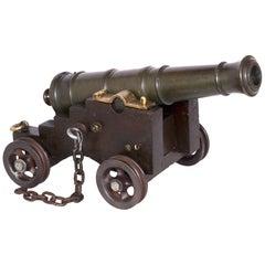 19th Century Bronze Cannon Bore Oak Carriage Handmade, Boom