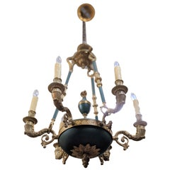 "19th Century Bronze Chandelier ""Empire Style"" from France"