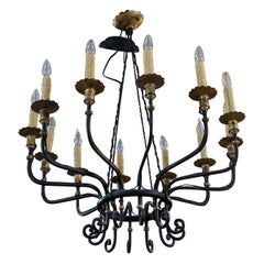 19th Century Bronze Chandelier from France