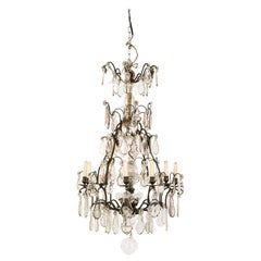 19th Century Bronze Chandelier with Cut Crystal Ornaments and Candles and Lights