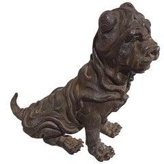 19th Century Bronze Chinese Sharpei Dog