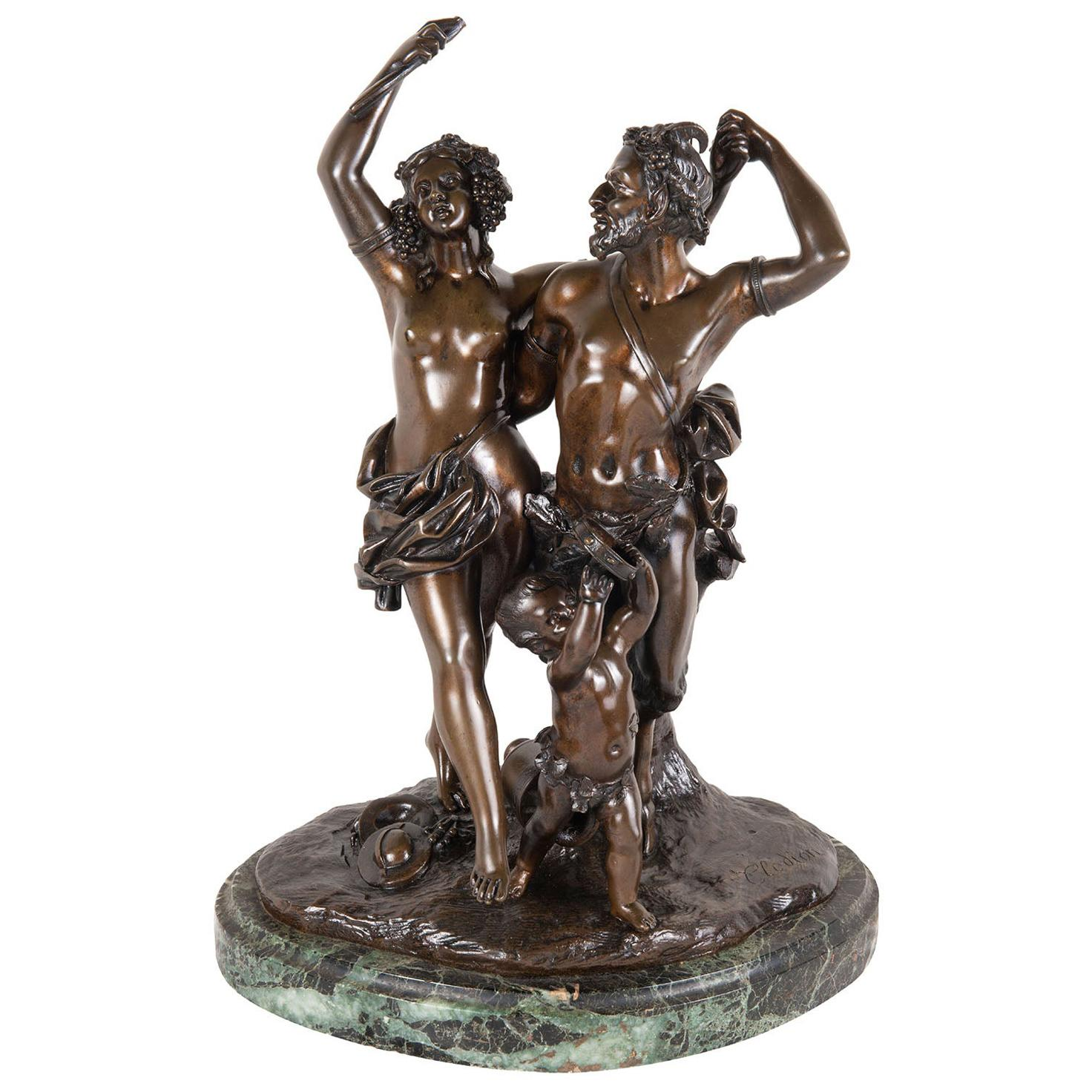19th Century Bronze Clodion Classical Bacchus Dancing Group